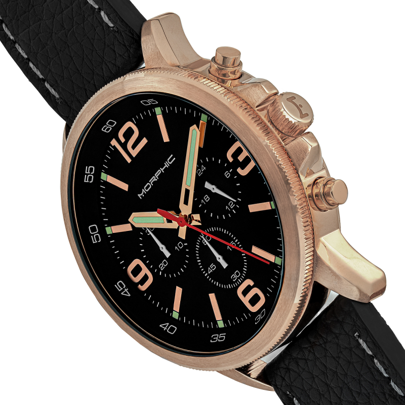 Morphic M86 Series Chronograph Leather-Band Watch - Rose Gold/Black MPH8604