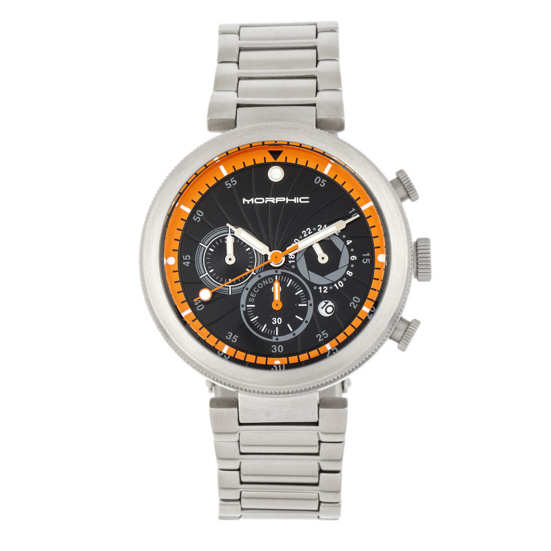 Morphic M87 Series Chronograph Bracelet Watch w/Date - Silver/Orange MPH8704