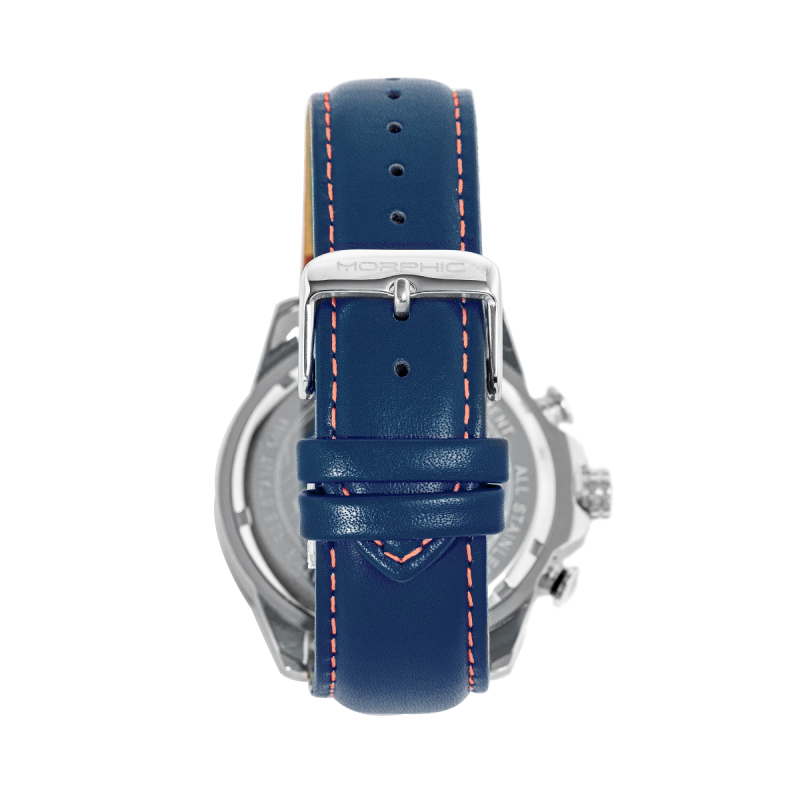 Morphic M88 Series Chronograph Leather-Band Watch w/Date - Navy/Blue MPH8802
