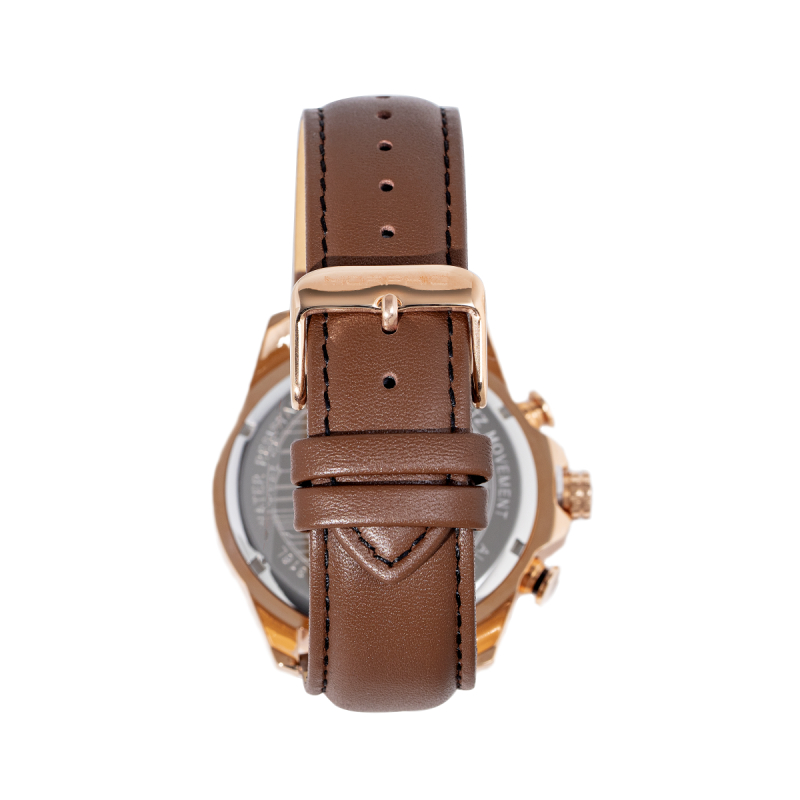 Morphic M88 Series Chronograph Leather-Band Watch w/Date - Brown/Rose Gold MPH8803
