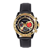 Morphic M88 Series Chronograph Leather-Band Watch w/Date - Black/Gold MPH8805