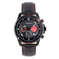 Morphic M88 Series Chronograph Leather-Band Watch w/Date - Black MPH8806