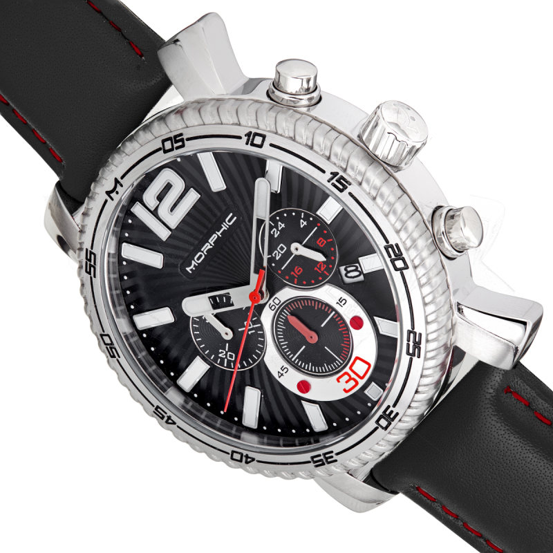 Morphic M89 Series Chronograph Leather-Band Watch w/Date - Black MPH8902