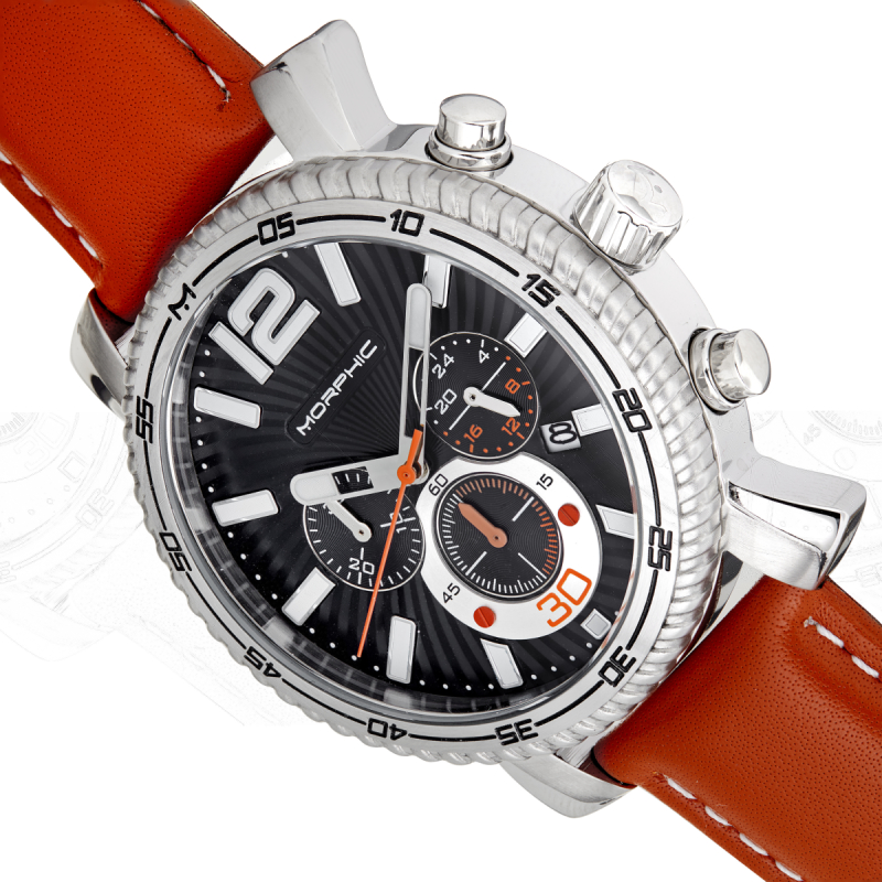 Morphic M89 Series Chronograph Leather-Band Watch w/Date - Camel/Black MPH8904