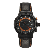 Morphic M91 Series Chronograph Leather-Band Watch w/Date - Black/Yellow MPH9106