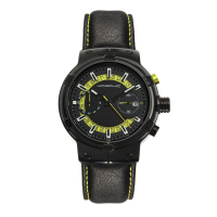 Morphic M91 Series Chronograph Leather-Band Watch w/Date - Black/Red MPH9104