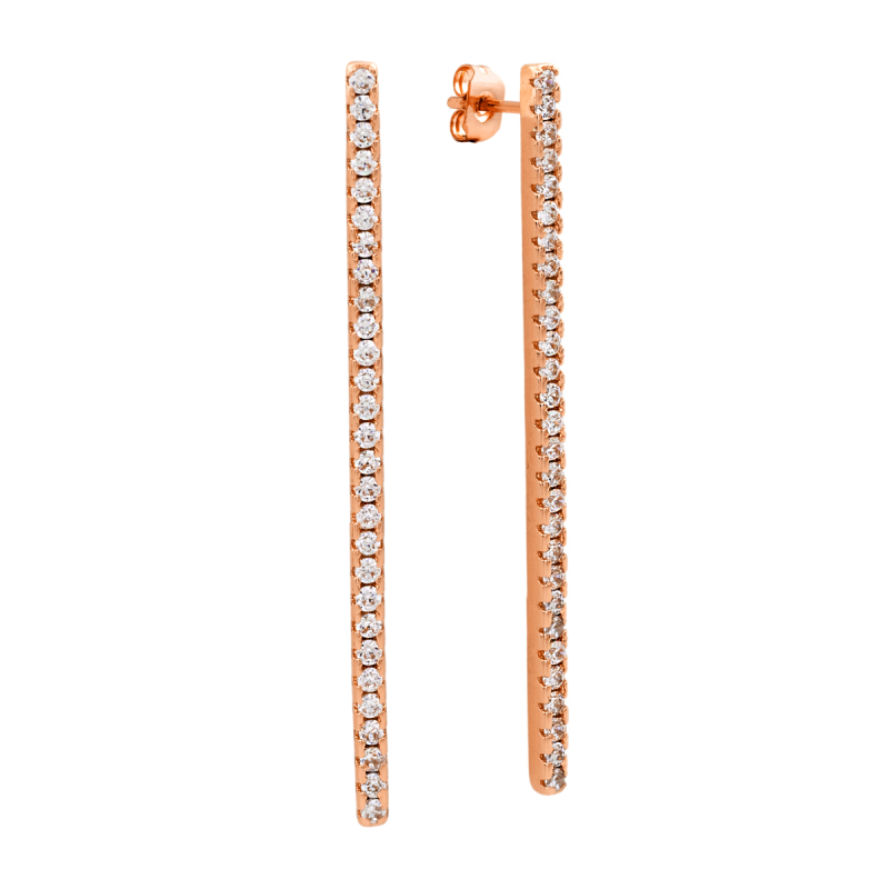 Sole Du Soleil Lily 18k Rose Gold Plated Bar Drop Earrings SDS10717EO