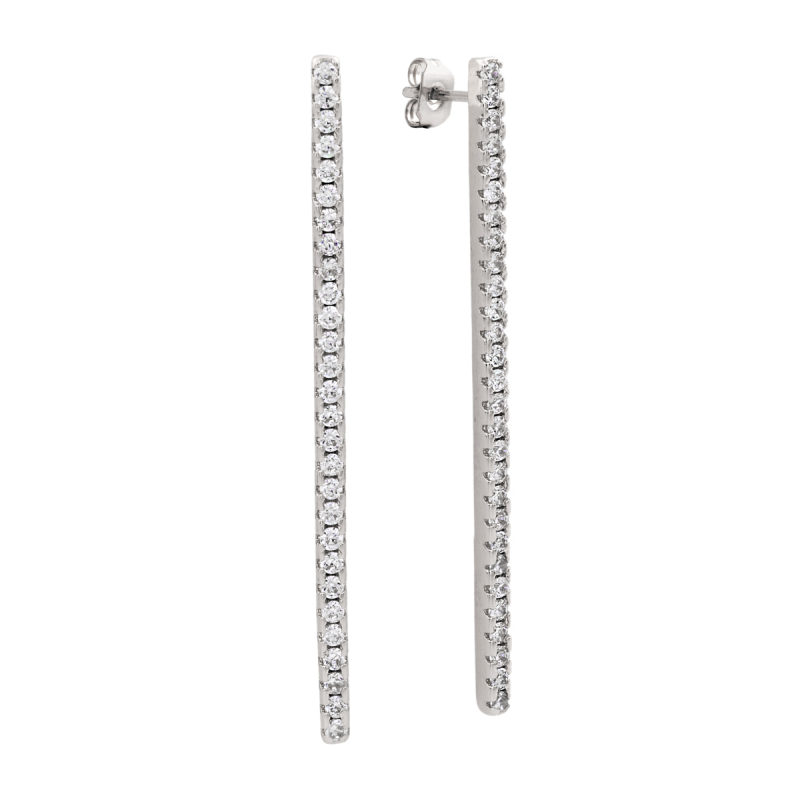 Sole Du Soleil Lily 18k White Gold Plated Bar Drop Earrings SDS10718EO