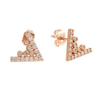 Sole Du Soleil Lupine 18k Rose Gold Plated Triangle Stud Earrings SDS10739EO