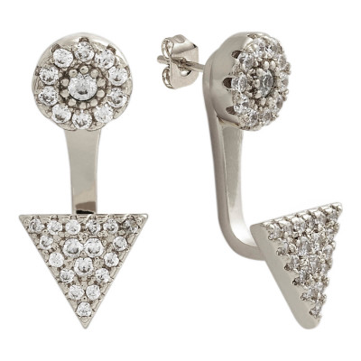 Sole Du Soleil Lupine 18k White Gold Plated Triangle Threader Earrings SDS20279EO