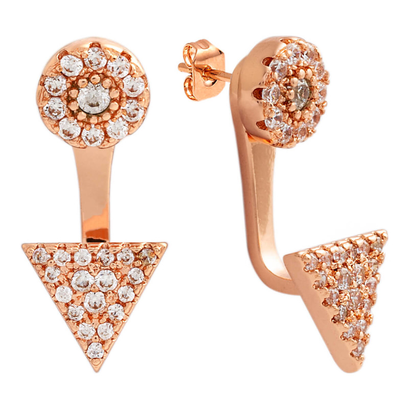 Sole Du Soleil Lupine 18k Rose Gold Plated Geometric Ear Jacket Earrings SDS10746EO