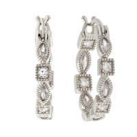 Sole Du Soleil Petunia 18k White Gold Plated Hoop Earrings SDS10747EO