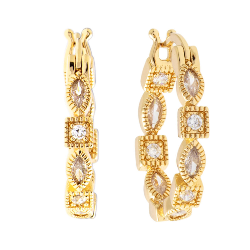Sole Du Soleil Petunia 18k Yellow Gold Plated Hoop Earrings SDS10748EO