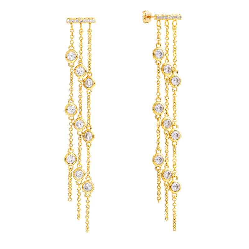 Sole Du Soleil Lily 18k Yellow Gold Plated Dangle Earrings SDS10751EO