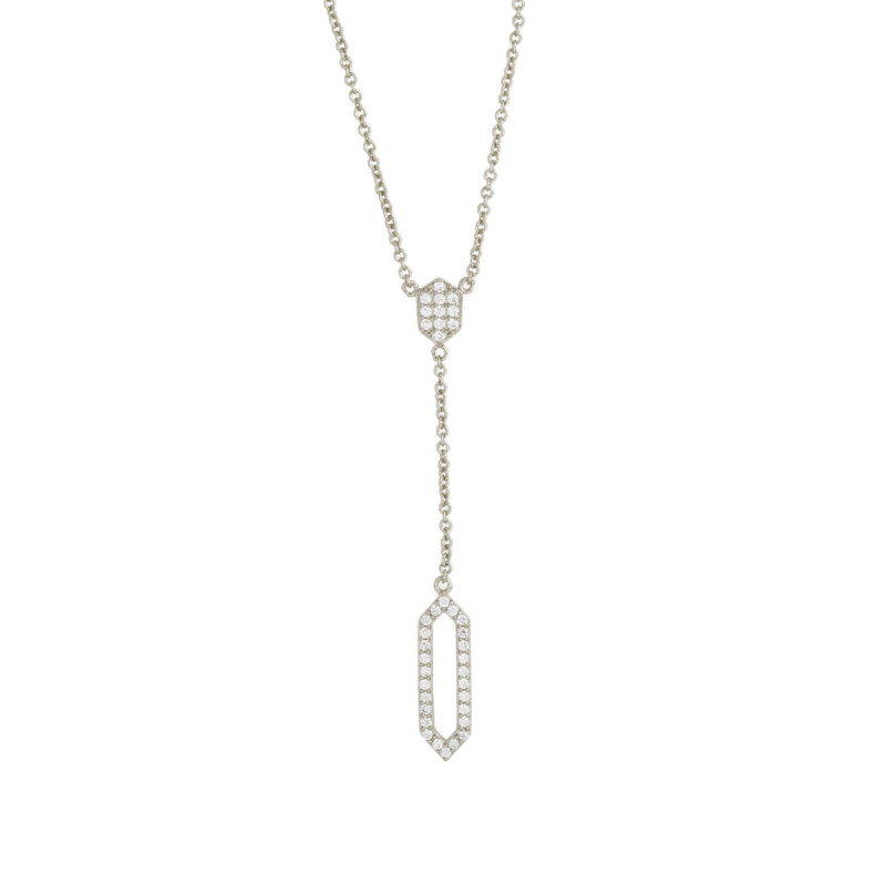 Sole Du Soleil Lily 18k White Gold Plated Geo Drop Necklace SDS10762NO