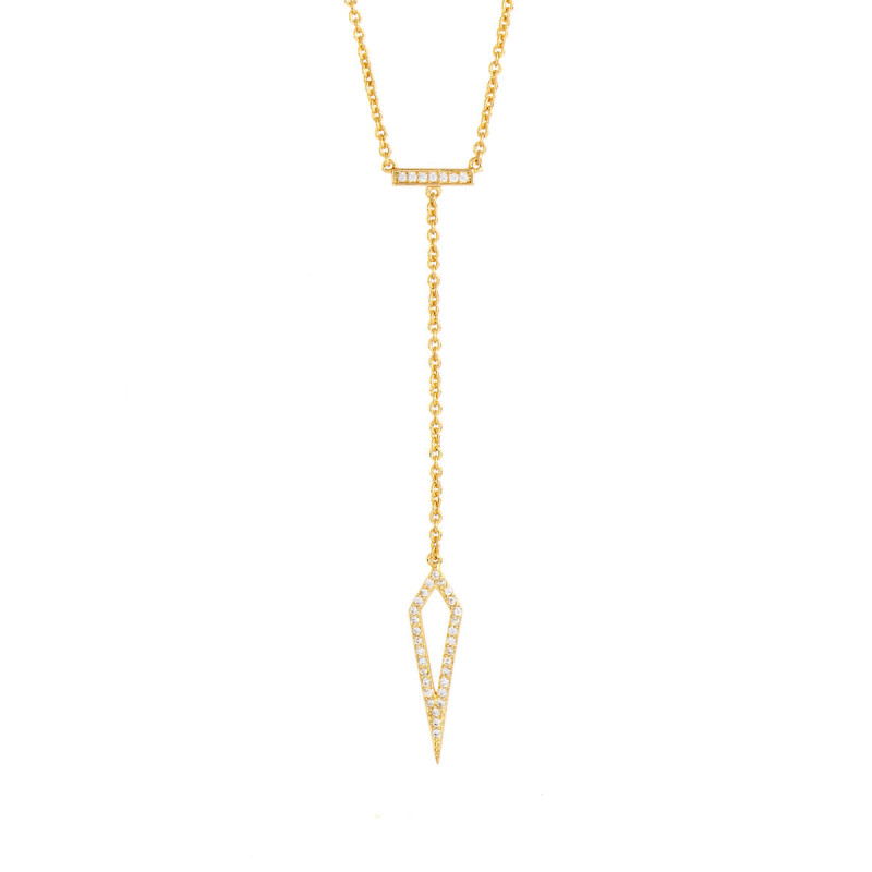 Sole Du Soleil Lily 18k Yellow Gold Plated Arrow Drop Necklace SDS10766NO