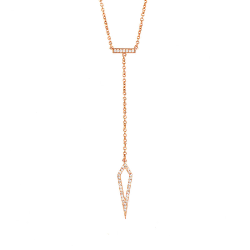 Sole Du Soleil Lily 18k Rose Gold Plated Arrow Drop Necklace SDS10767NO