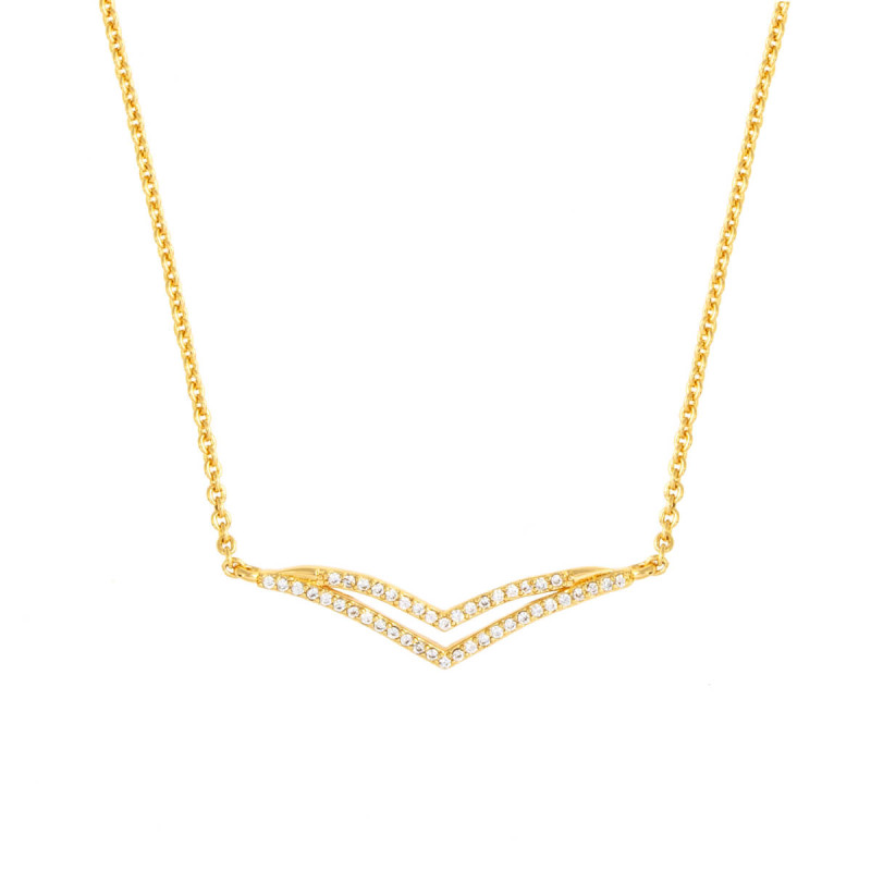 Sole Du Soleil Daffodil 18k Yellow Gold Plated Double Curved Bar Necklace SDS10769NO