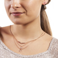 Sole Du Soleil Daffodil 18k Rose Gold Plated Double Curved Bar Necklace SDS10770NO