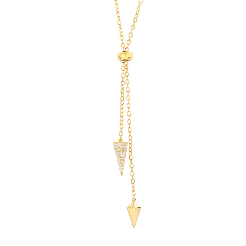 Sole Du Soleil Lily 18k Yellow Gold Plated Triangle Bolo Necklace SDS10775NO