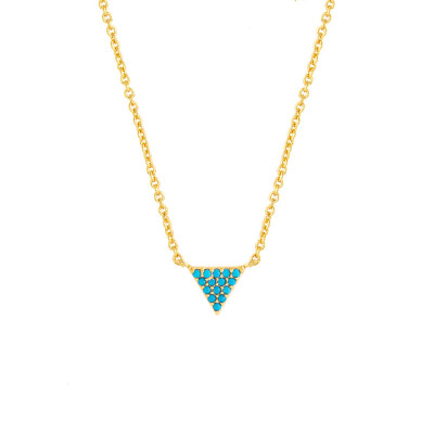Sole Du Soleil Lupine 18k White Gold Plated Blue Triangle Necklace SDS10777NO