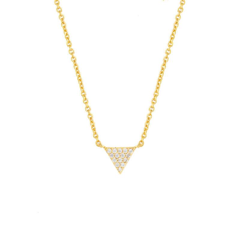 Sole Du Soleil Lupine 18k Yellow Gold Plated Triangle Necklace SDS10782NO