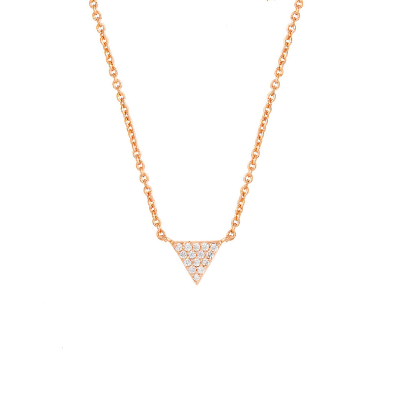 Sole Du Soleil Lupine 18k Rose Gold Plated Triangle Necklace SDS10784NO