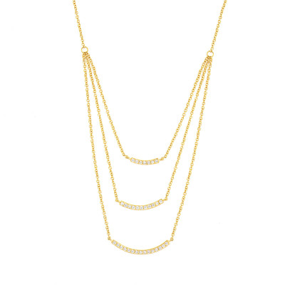 Sole Du Soleil Lily 18k Yellow Gold Plated Geo Drop Necklace SDS10763NO