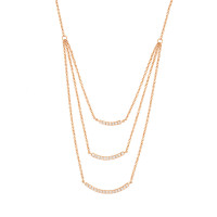 Sole Du Soleil Lily 18k Rose Gold Plated Layered Bar Necklace SDS10787NO