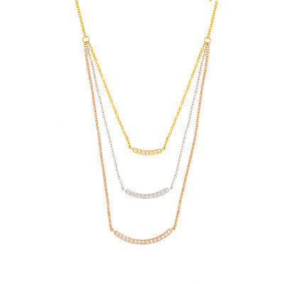 Sole Du Soleil Lily 18k White Gold Plated Layered Bar Necklace SDS10785NO