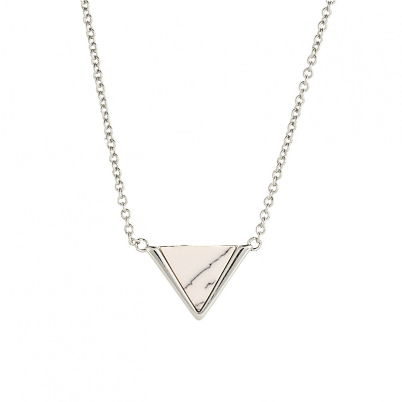 Sole Du Soleil Lupine 18k White Gold Plated Marble Triangle Necklace SDS10793NO