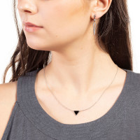 Sole Du Soleil Lupine 18k White Gold Plated Black Triangle Necklace SDS10794NO