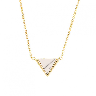 Sole Du Soleil Lupine 18k Yellow Gold Plated Blue Triangle Necklace SDS10781NO