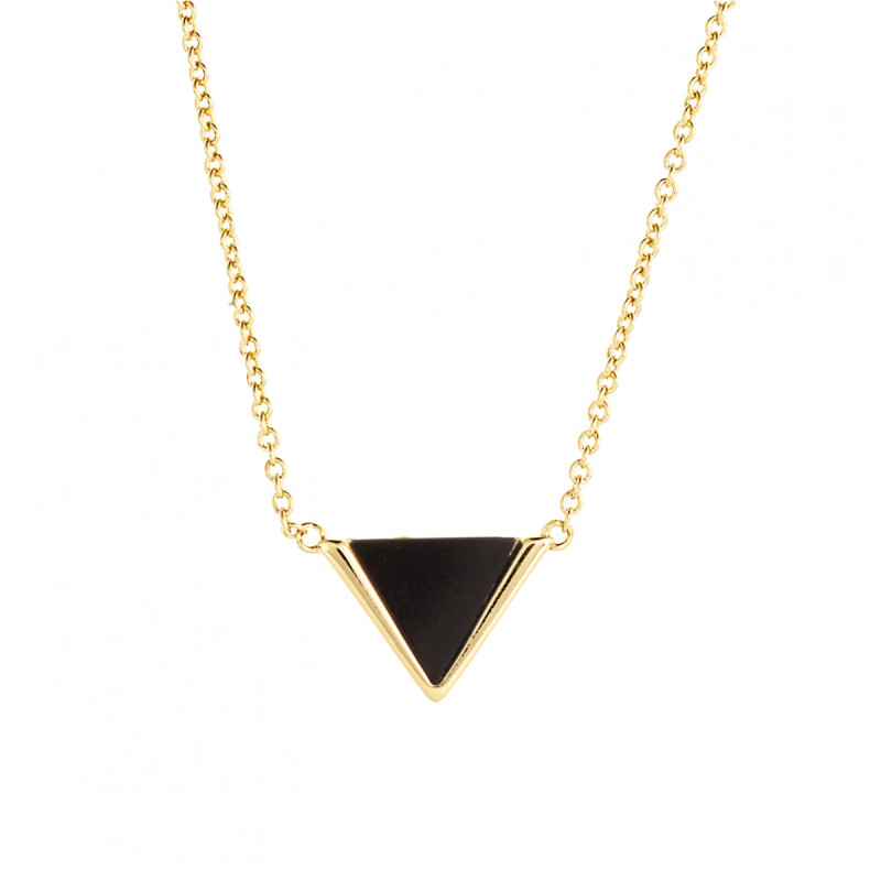 Sole Du Soleil  Collier Triangle Noir Plaqué Or Jaune 18 Carats Lupine SDS10796NO
