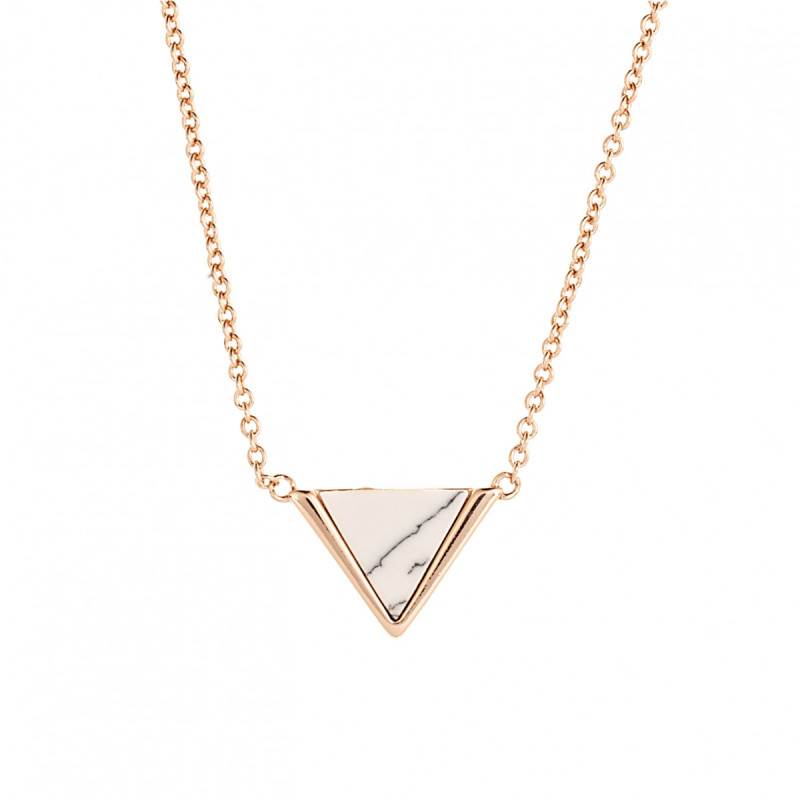 Sole Du Soleil Lupine 18k Rose Gold Plated Marble Triangle Necklace SDS10797NO