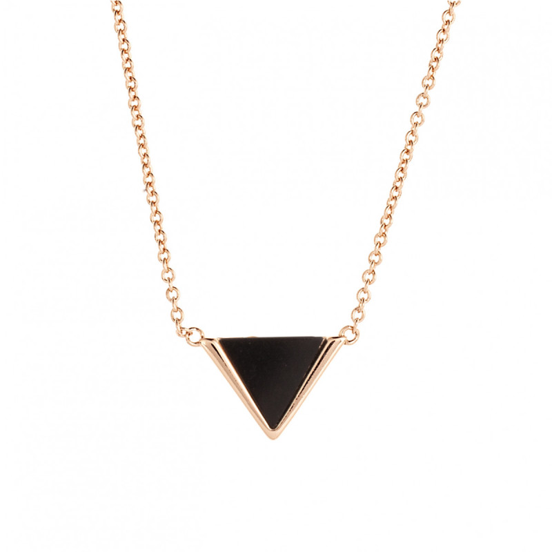 Sole Du Soleil Lupine 18k Rose Gold Plated Black Triangle Necklace SDS10798NO