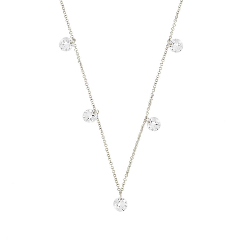 Sole Du Soleil Marigold 18k White Gold Plated Floating Stone Necklace SDS10802NO