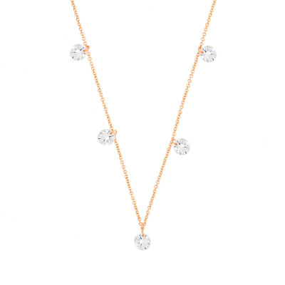 "Sole Du Soleil  Collier Satellite 16 ""en Plaqué Or Rose 18 Carats Marigold SDS20222NO"