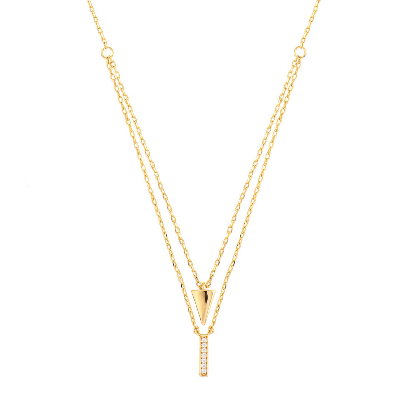 Sole Du Soleil Lupine 18k Yellow Gold Plated Layered Necklace SDS10810NO