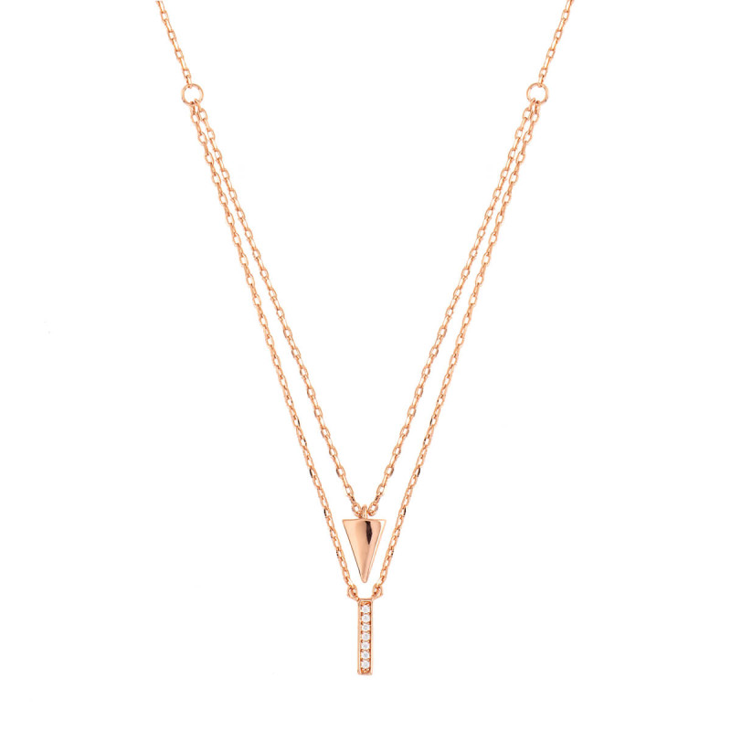 Sole Du Soleil Lupine 18k Rose Gold Plated Layered Necklace SDS10811NO