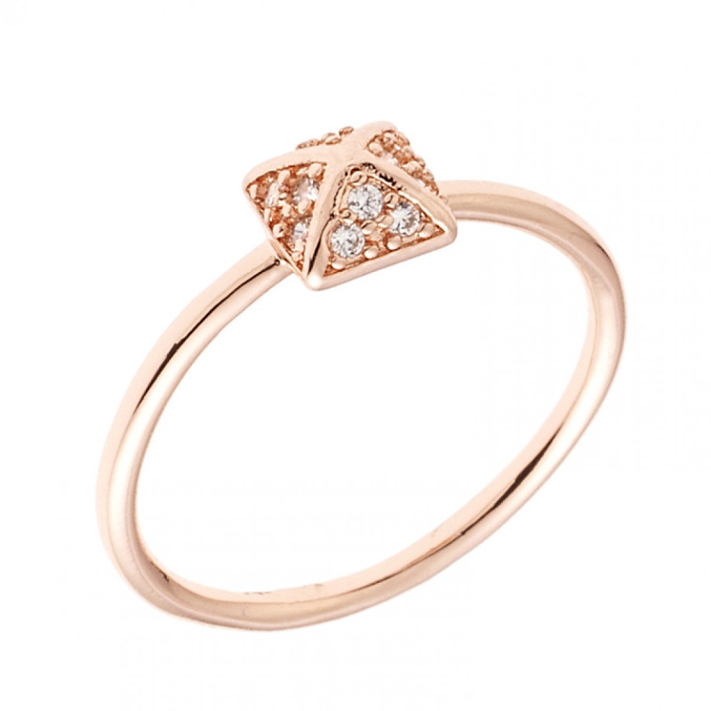 Sole Du Soleil Lupine 18k Rose Gold Plated Geo Ring SDS10824R7