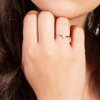Sole Du Soleil Lupine 18k White Gold Plated Stackable Triangle Ring SDS10829R7