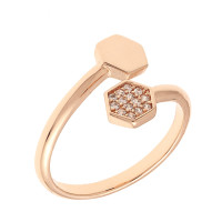 Sole Du Soleil Daffodil 18k Rose Gold Plated Geometric Bypass Ring SDS10830R7