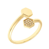 Sole Du Soleil Daffodil 18k Yellow Gold Plated Geometric Bypass Ring SDS10831R7