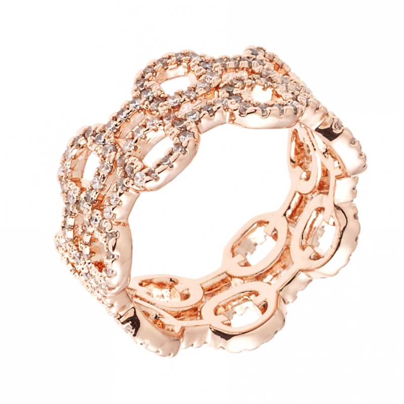 Sole Du Soleil Petunia 18k Rose Gold Plated Double Chain Ring SDS10835R7