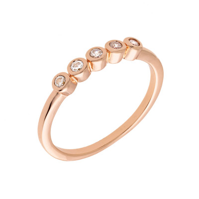Sole Du Soleil Marigold 18k Rose Gold Plated Yellow Stone Stackable Ring SDS10772R7