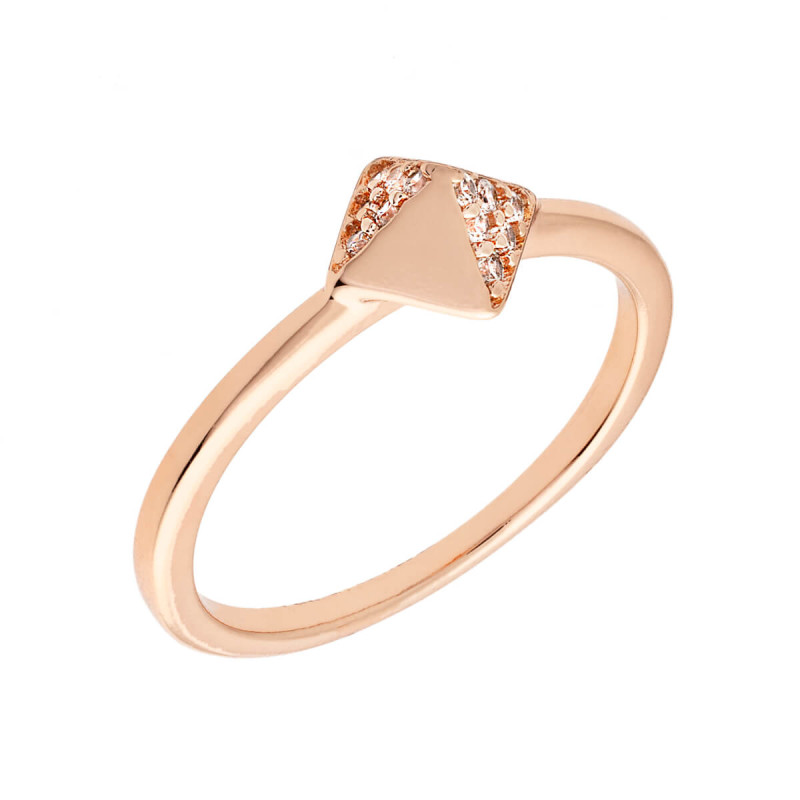 Sole Du Soleil Lupine 18k Rose Gold Plated Stackable Pyramid Ring SDS10848R7