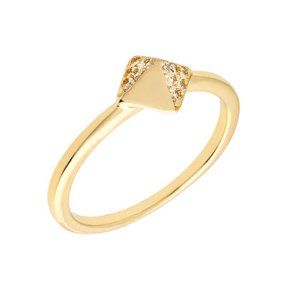 Sole Du Soleil Lupine 18k White Gold Plated Geo Ring SDS10826R7