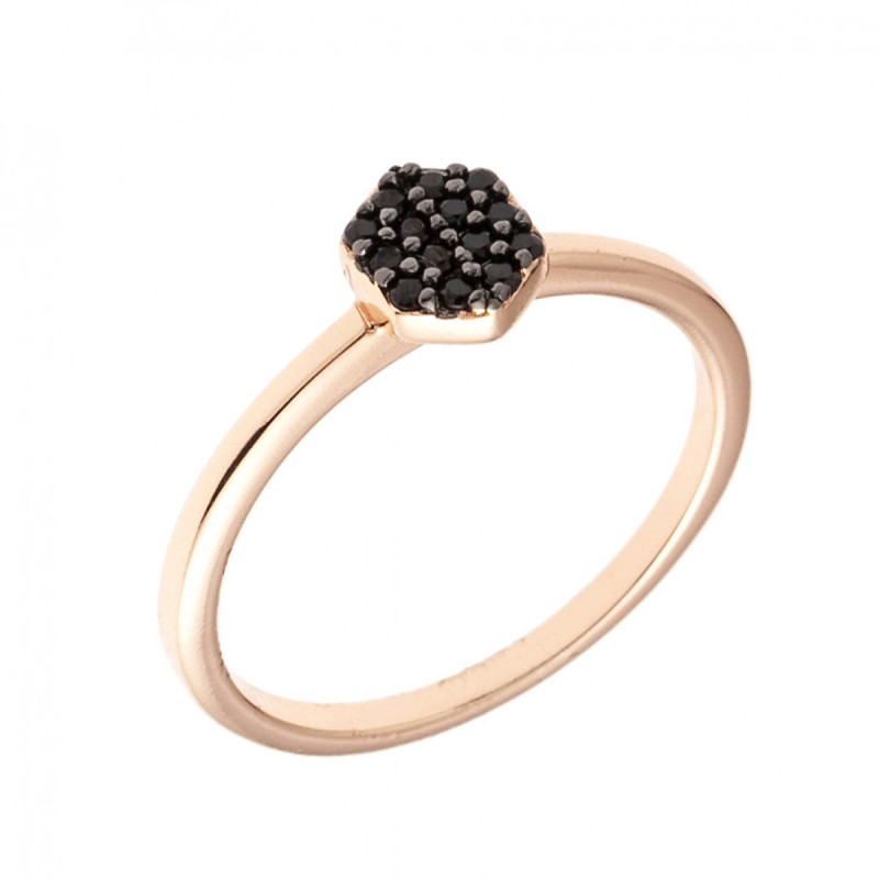 Sole Du Soleil Daffodil 18k Rose Gold Plated Black Stackable Ring SDS10855R7