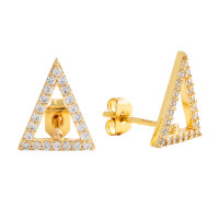 Sole Du Soleil Lupine 18k Yellow Gold Plated Open Triangle Stud Earrings SDS20160EO
